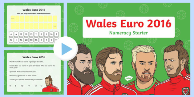 Euro 2016 Wales Numeracy Starter Nursery Reception PowerPoint-Welsh
