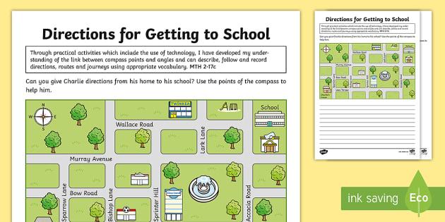 getting to school directions worksheet activity sheet esl. Black Bedroom Furniture Sets. Home Design Ideas