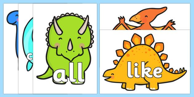 Tricky Words on Dinosaur - Tricky words, DfES Letters and Sounds, Letters and sounds, t-rex, stegosaurus, raptor, iguanodon, tyrannasaurus rex