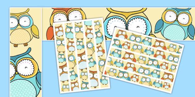 Cute Owl Themed Display Borders - cute owl, themed, display borders, display, borders
