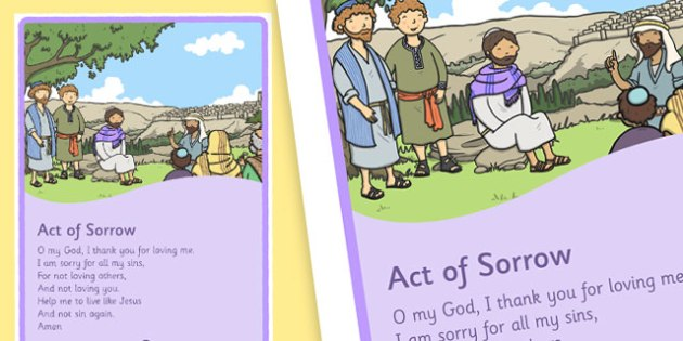 Act of Sorrow Sacrament of Penance Prayer Display Poster - Penance, Confession, prayers, posters, religion, ireland, republic, roi, irish, confess