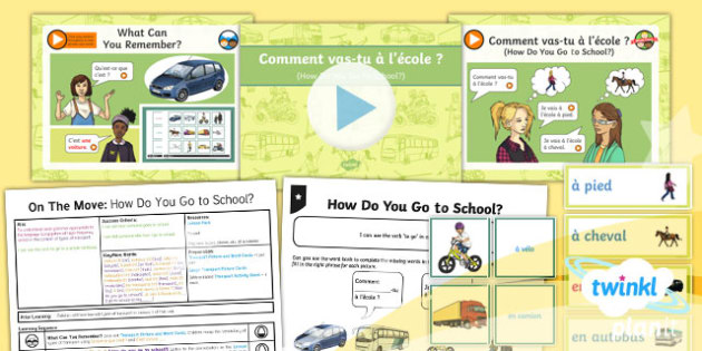 French: On the Move: How Do You Go to School? Year 4 Lesson Pack 2