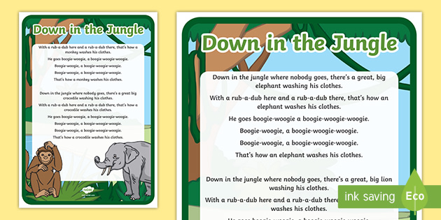 Jungle Songs For Early Years Down In The Jungle Rhyme