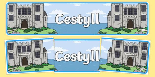 Baner Cestyll Baner Arddangosfa-Welsh