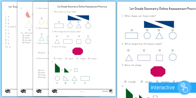 picture relating to First Grade Math Assessment Printable identify Very first Quality Geometry On the net Investigation Prepare Worksheet