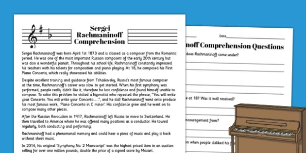 Sergei Rachmaninoff Reading Comprehension Activity - rachmaninoff, sheet