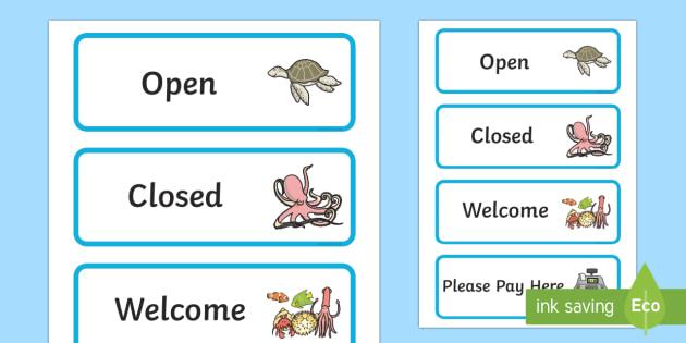 The Aquarium Role Play Signs - aquarium, role, play, role play, signs, aquarium signs, role play signs, aquarium role play, signs for aquarium