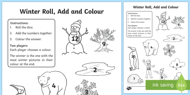 Winter Themed Roll and Colour Activty Sheet Game