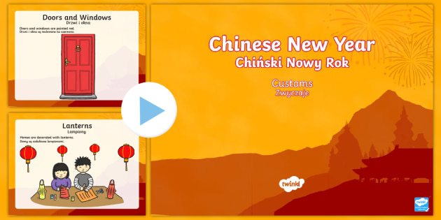 Chinese New Year Customs PowerPoint English/Polish - Chinese New Year, KS1, KS2, EYFS, Celebration, festivals, rooster,Polish-translation