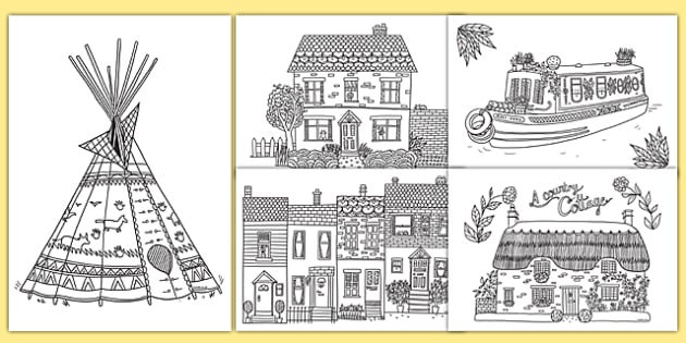Houses and Homes Mindfulness Colouring Pages