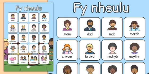 fy nheulu Vocabulary Poster Cymraeg - cymraeg, welsh, my family, vocabulary poster, vocabulary, poster, display
