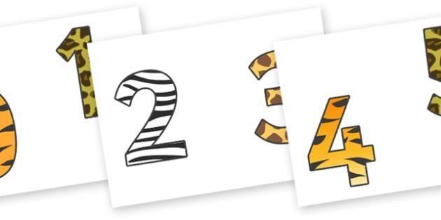 0-9 Display Numbers (Animal Print) - Display numbers, 0-9, numbers, display numerals, animals, animal prints, display lettering, display numbers, display, cut out lettering, lettering for display, display numbers