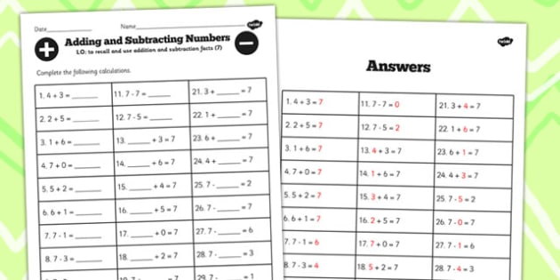 Number Facts to 7 Worksheet - number, facts, worksheet, 7, maths