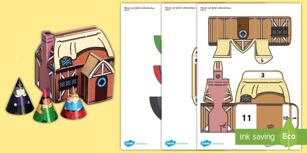 Hänsel und Gretel Lebkuchenhaus Papiermodell - Hänsel und Gretel, Märchen,Papier Modell, Lebkuchenhaus,German