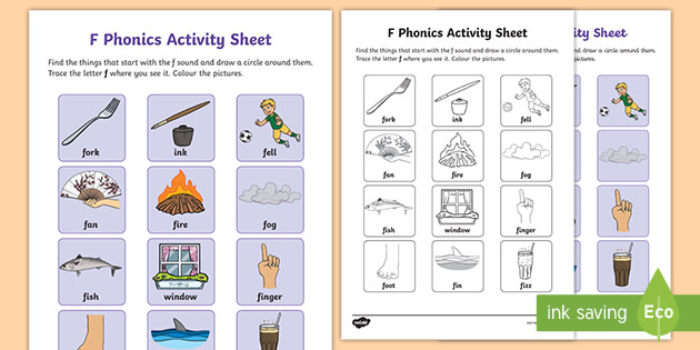 F Sound Phonics Worksheet Teacher Made