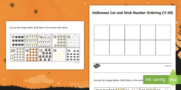Halloween Themed Cut and Stick Number Ordering 11-20 Activity