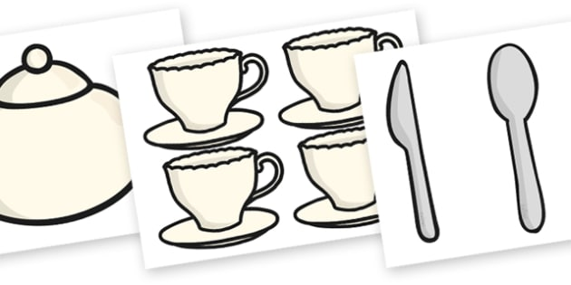 Cafe Role Play Cut Outs - cafe cut outs, cafe, cafe role play, cafe cutouts, cafe cut-outs, cafe role play cut-outs, knife and fork, plate, teacup, saucer