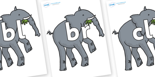 Initial Letter Blends on Trunky The Elephant to Support Teaching on The Enormous Crocodile - Initial Letters, initial letter, letter blend, letter blends, consonant, consonants, digraph, trigraph, literacy, alphabet, letters, foundation stage literac