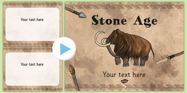 The Stone Age Themed PowerPoint Template - Stone, Age, Template
