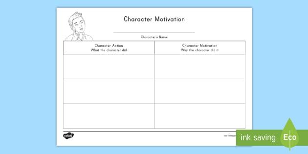 character motivation worksheet activity sheet character. Black Bedroom Furniture Sets. Home Design Ideas