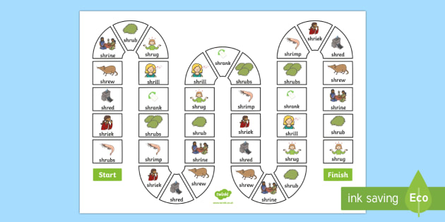 SHR Board Game - speech sounds, phonology, articulation, speech therapy, cluster reduction