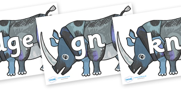 Silent Letters on Rhinoceros to Support Teaching on The Bad Tempered Ladybird - Silent Letters, silent letter, letter blend, consonant, consonants, digraph, trigraph, A-Z letters, literacy, alphabet, letters, alternative sounds