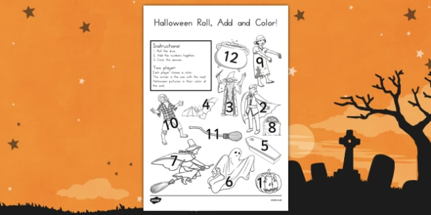 Halloween Roll and Color Worksheet - Spooky, October,patterns, numbers, activity, filler, worksheet, sheet, colours, dice