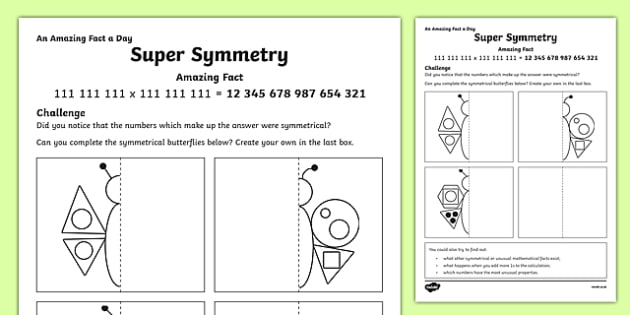 Super Symmetry Activity Sheet Activity Sheet, worksheet