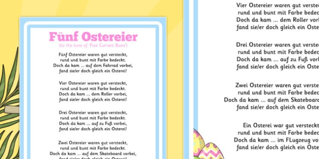 Five Easter Eggs Counting Song Sheet German - german, counting