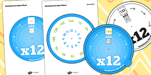 Multiplication Spin Wheel 12 - times tables, multiply, maths