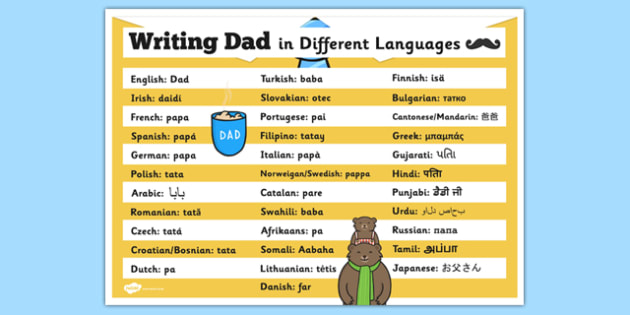 Writing Dad in Different Languages Poster - writing, dad, languages