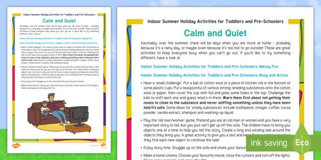 Indoor Summer Holiday Activities For Toddlers And Preschoolers Calm Quiet Worksheet Activity