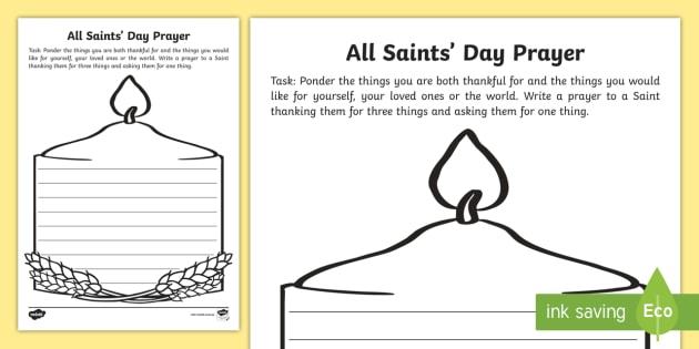 All Saints Day Prayer Writing Worksheet Religious