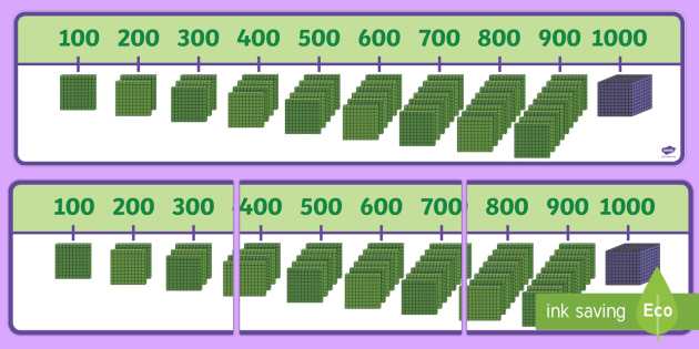 English In Italian: 1000 Number Line With Base Ten Blocks