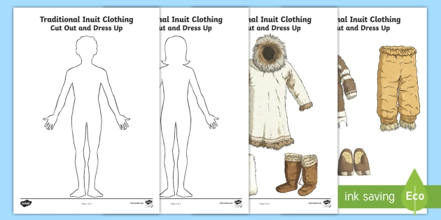 Inuit Winter Clothing Cut Out and Dress Up Activity - Canadian Aboriginal people, Inuit, Nunavut, Arctic, winter clothing.