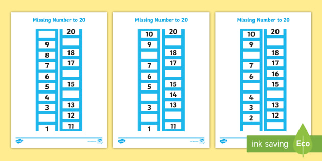 Ladder Missing Number to 20 Worksheet / Activity Sheets