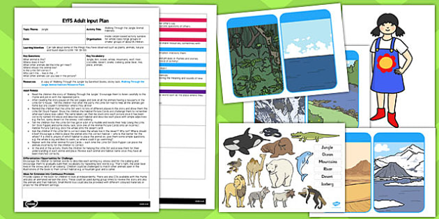 EYFS Animal Habitats Jungle Animals Themed Adult Input Plan and Resource Pack - walking through the jungle