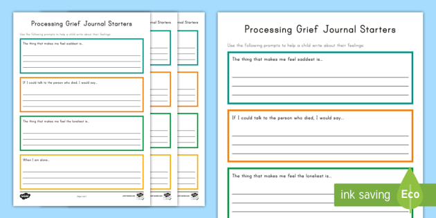Processing Grief Journal Writing Worksheet Activity