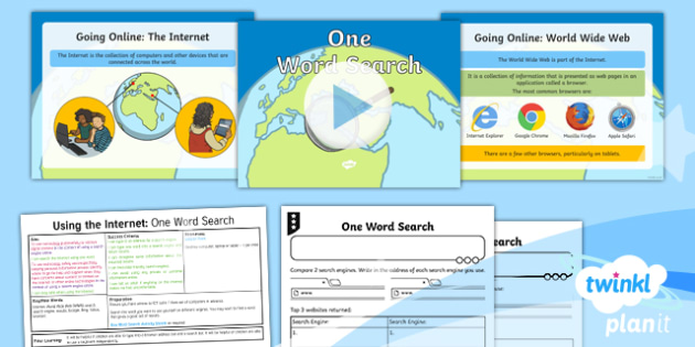 Computing: Using the Internet: One Word Search Year 2 Lesson Pack 1