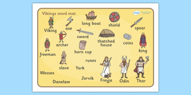 Viking Word Mat - Vikings, England, word mat, writing aid, mat, history, longboat, Scandinavian, explorers, Viking Age, longship, Norse, Norway, Wessex, Danelaw, York, thatched house, shield