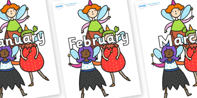 Months of the Year on Good Fairies - Months of the Year, Months poster, Months display, display, poster, frieze, Months, month, January, February, March, April, May, June, July, August, September