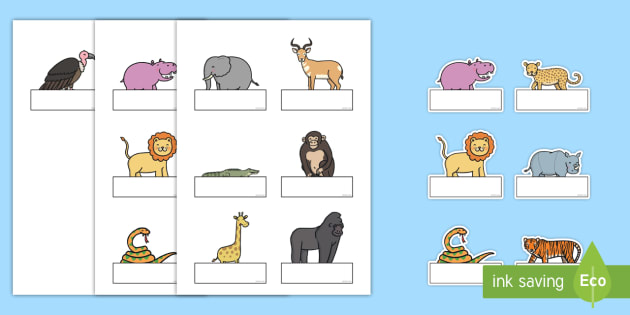 Editable Self-Registration Labels to Support Teaching on Rumble in the Jungle - Self registration, register, Story, book, resources, Giles Andreae, David Wojtowycz, editable, labels, registration, child name label, printable labels