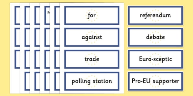 EU Referendum 2016 Keyword Display Cards - EU, referendum , vote, ballot, Thursday 23rd June 2016, European Union, display, keywords, word cards