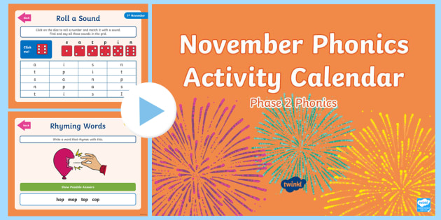 Phase 2 November Phonics Activity Calendar PowerPoint