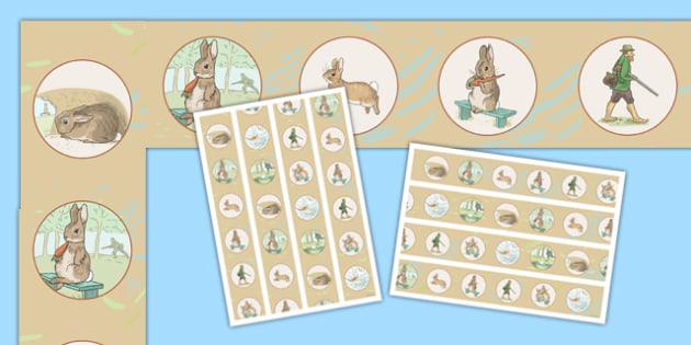 Beatrix Potter - The Story of a Fierce Bad Rabbit Display Borders - beatrix potter, fierce bad rabbit