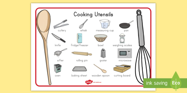Cooking Utensils Word Mat Teacher Made