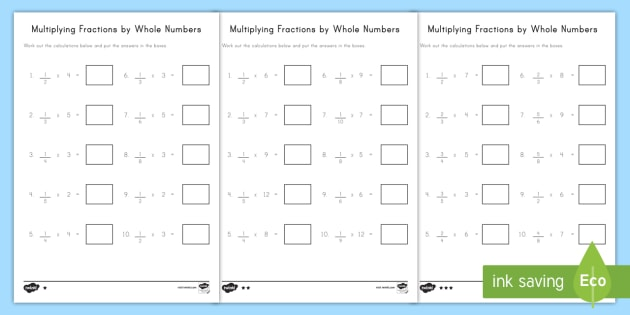 Multiplying Fractions By Whole Numbers Differentiated Worksheet