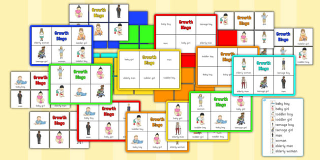 Growth Bingo - growth, bingo, activity, game, grow, human, age