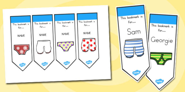 Editable Bookmarks to Support Teaching on Aliens Love Underpants - australia, aliens, underpants