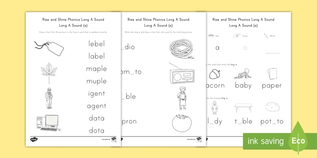 Rise and Shine Phonics Long A Sound Morning Worksheet / Activity Sheets - long vowels, long a, morning work, phonics, Worksheets, ai, ay, ei, eigh, a-e